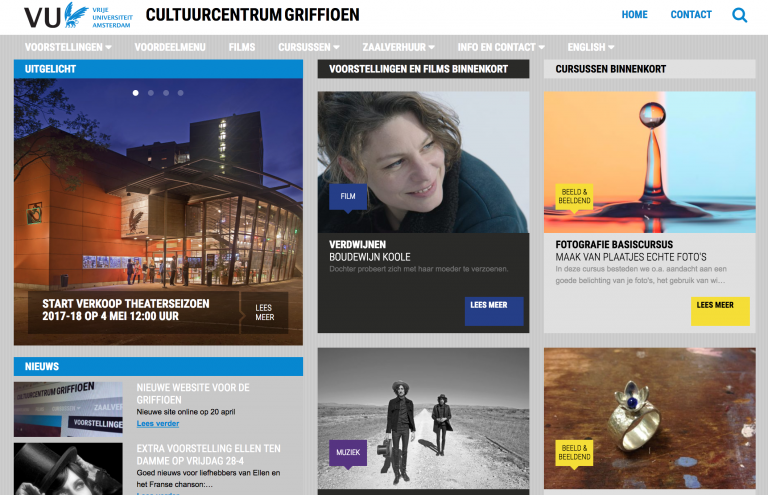 Screenshot Voorpagina website Cultuurcentrum Griffioen